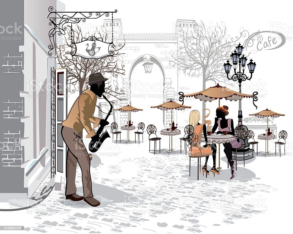 Streets with people in the old city and street musicians vector art illustration