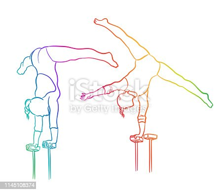 Gymnasts showing their strength and flexibility