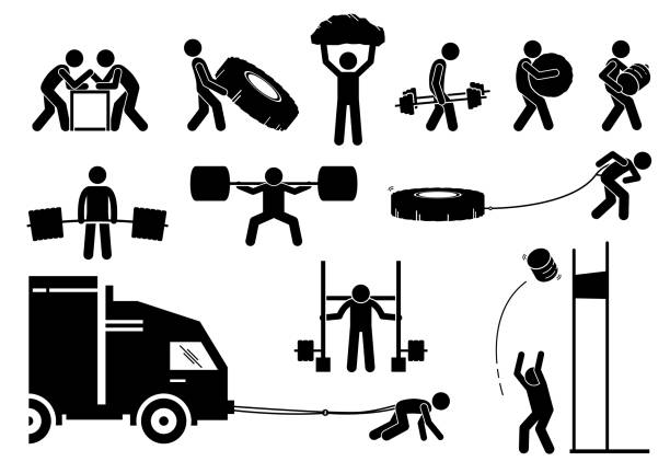 Strength athletics strongman competition icons. vector art illustration