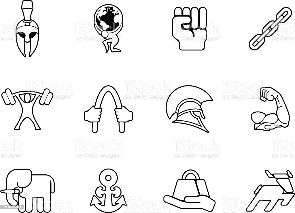 Strength icon set vector art illustration