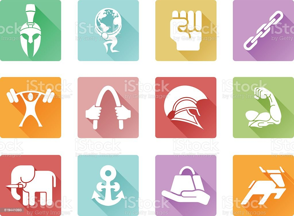 Strength icons flat shadow style vector art illustration