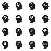 Stress And Depression Icons. Black Flat Design. Vector Illustration.