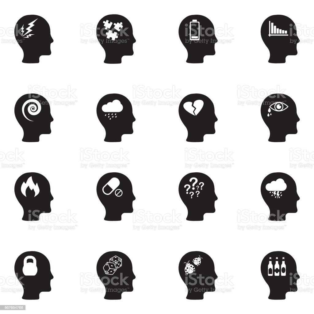 Stress And Depression Icons. Black Flat Design. Vector Illustration. vector art illustration