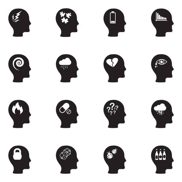 stress and depression icons. black flat design. vector illustration. - stress stock illustrations, clip art, cartoons, & icons