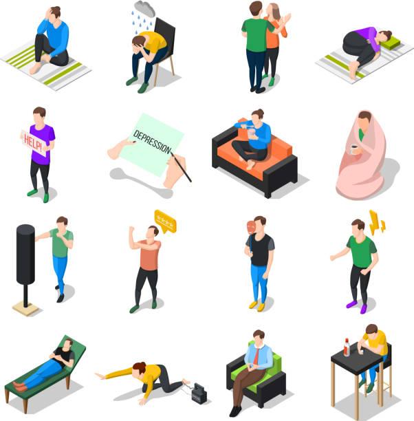 Stress und Depression Menschen isometrische Symbole – Vektorgrafik