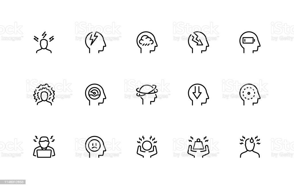 ストレスと抑うつ関連ベクトルアイコンセット。細い線のスタイル。48x48 ピクセルパーフェクト - アイコンのロイヤリティフリーベクトルアート