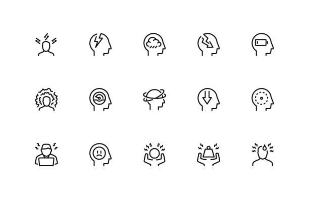 ilustrações, clipart, desenhos animados e ícones de jogo relacionado do ícone do vetor do stress e da depressão. estilo de linha fina. 48x48 pixel perfeito - cabeça