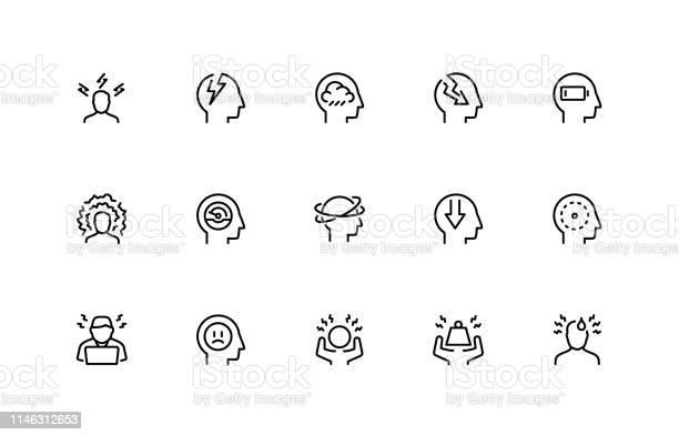 ストレスと抑うつ関連ベクトルアイコンセット細い線のスタイル48x48 ピクセルパーフェクト - アイコンのベクターアート素材や画像を多数ご用意