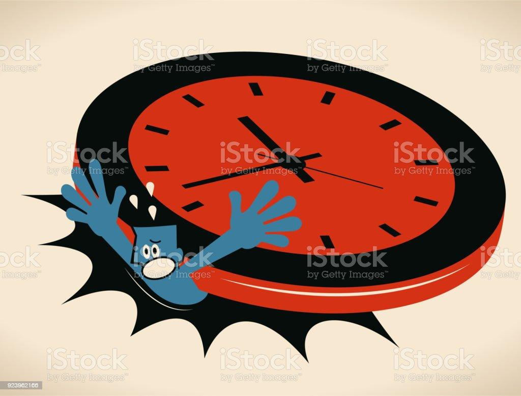Stress and time pressure, deadline, overtime concept, businessman under a big clock vector art illustration