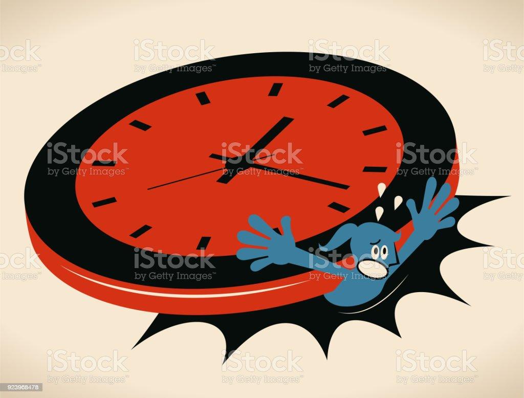 Stress and time pressure, deadline, overtime concept, businesswoman under a big clock vector art illustration