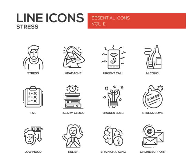 Stress at work - line design icons set Set of modern vector plain line design icons and pictograms of stress and nervous breakdown. Headache, urgent call, alcohol, fail, alarm clock, low mood, relief, online support relief emotion stock illustrations