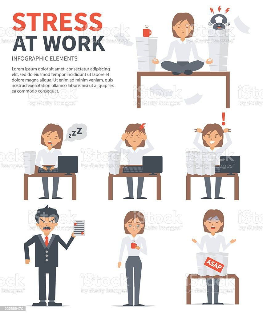 Stress at work vector art illustration