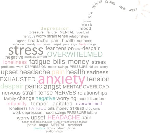 stress bomb word cloud - stress stock illustrations, clip art, cartoons, & icons