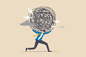 istock Stress burden, anxiety from work difficulty and overload, problem in economic crisis or pressure from too much responsibility concept, tried exhausted businessman carrying heavy messy line on his back 1308774720