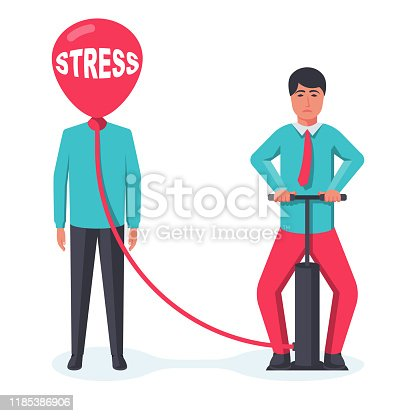 Stress business. The metaphor of anger. One person angers another. Vector illustration flat design. Isolated on white background. A balloon instead of a head. Bloated problemma. Inflate the balloon.