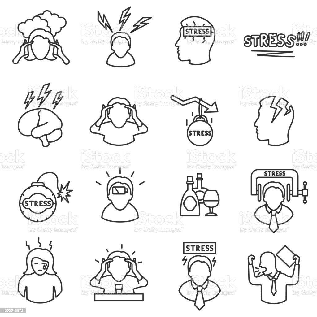 Stress icons set, line style. Editable stroke. vector art illustration