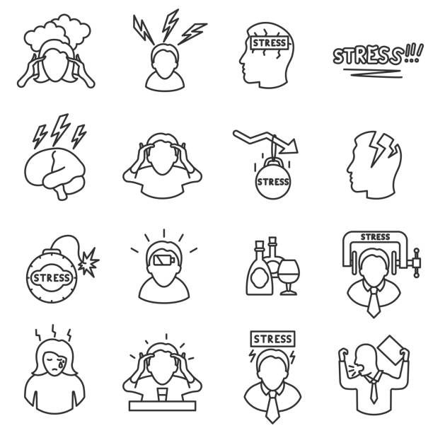 stress icons set, line style. editable stroke. - anxiety stock illustrations, clip art, cartoons, & icons