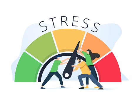 Stress level reduced with problem and pressure solving tiny persons concept. Tired from frustration employee in job vector illustration. Angry tension in business lifestyle. Emotional overload scene.
