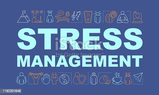 Stress management word concepts banner. Mental health. Stress overcoming. Calming and relaxing. Isolated typography idea with linear icons. Anxiety coping. Vector outline illustration
