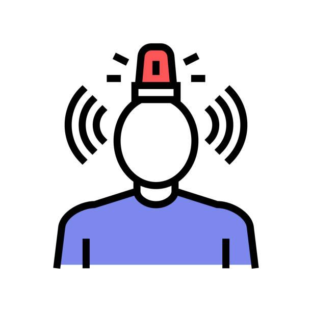 stockillustraties, clipart, cartoons en iconen met stress psychologische problemen kleur icoon vector illustratie - paranoïde