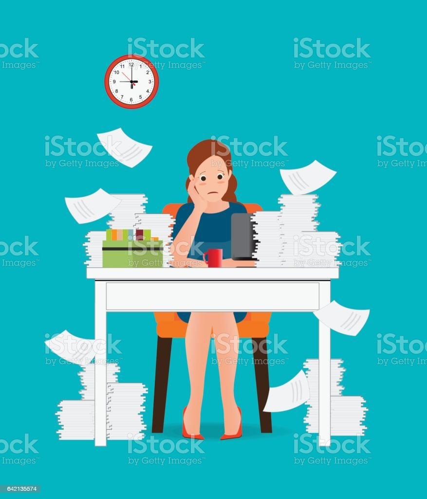 Stress situation on work, Overworked and tired business woman. vector art illustration