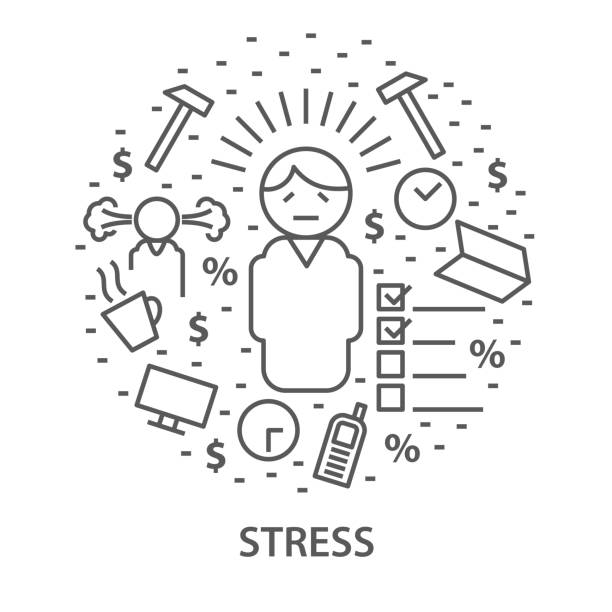 stress Linear banners for stress. Mental health vector illustration mental burnout stock illustrations