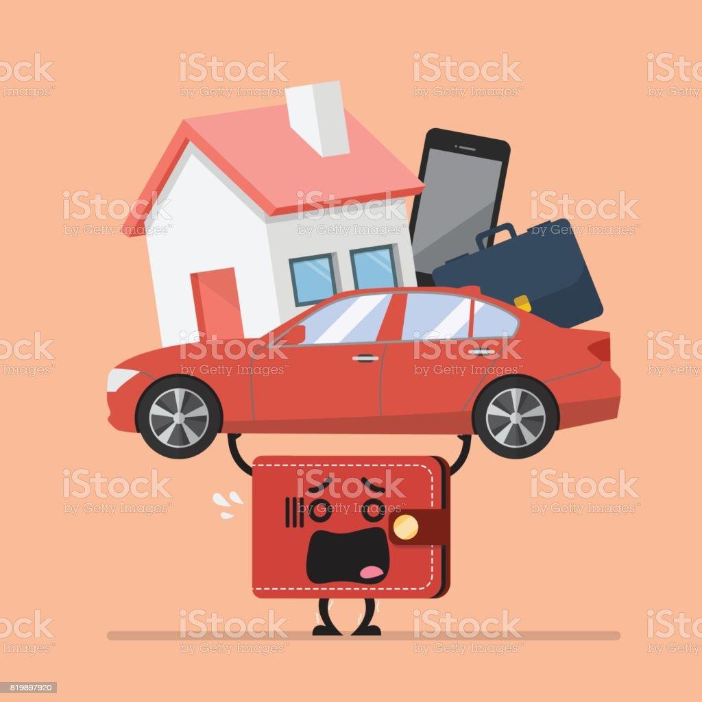 Stress wallet carrying debt burden vector art illustration