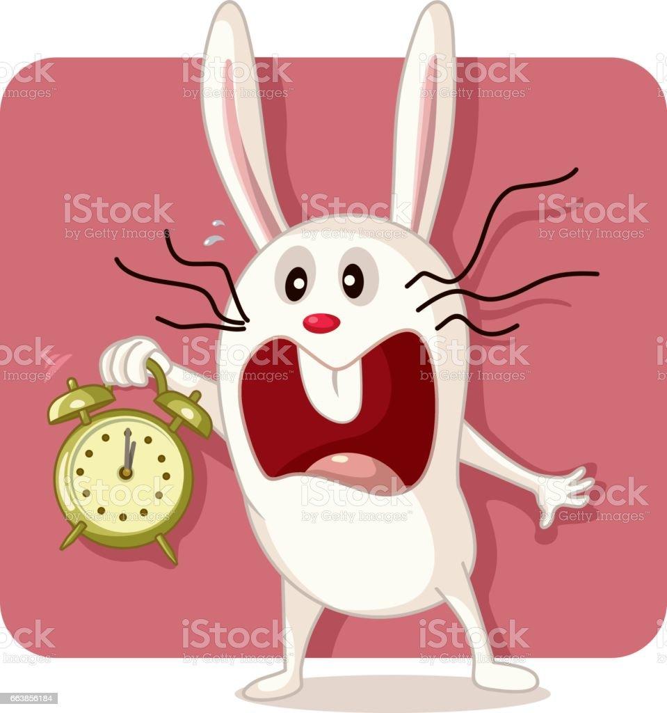 Destacó el conejito con el Vector de reloj despertador - ilustración de arte vectorial
