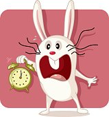 Stressed Bunny with Alarm Clock Vector