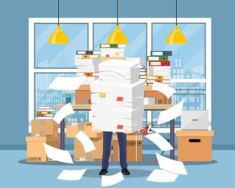 Ilustración de Destacó El Empresario Tiene Pila Papeles y más Vectores Libres de Derechos de Big Data