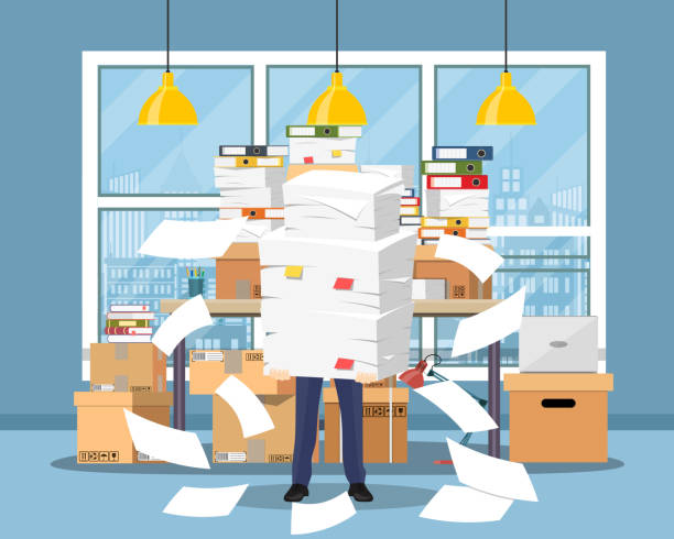 illustrazioni stock, clip art, cartoni animati e icone di tendenza di stressed businessman holds pile papers - disordinato