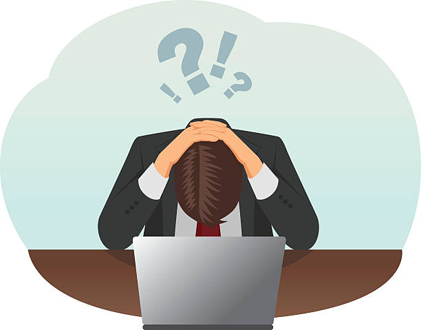 Stressed businessman Failed and stressed businessman is tired to work on the computer. He put hands on the head. frustration stock illustrations