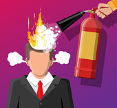 Stressed businessman with hair on fire gets help from man with extinguisher. Overworked man with burning brain, burnt by work. Emotional stress. Man in suit with burning head. Flat vector illustration