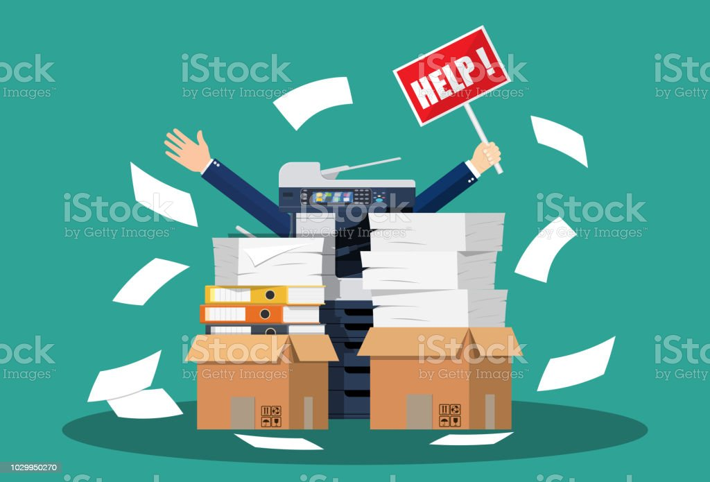 Stressed cartoon businessman in pile papers vector art illustration