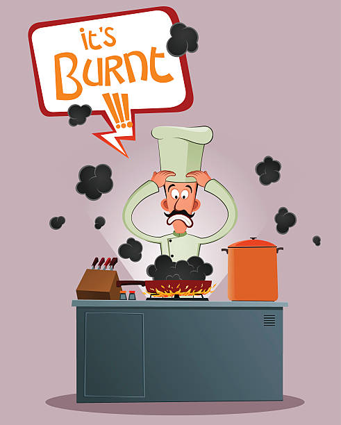ilustrações de stock, clip art, desenhos animados e ícones de salientou chefe de cozinha - burned cooking