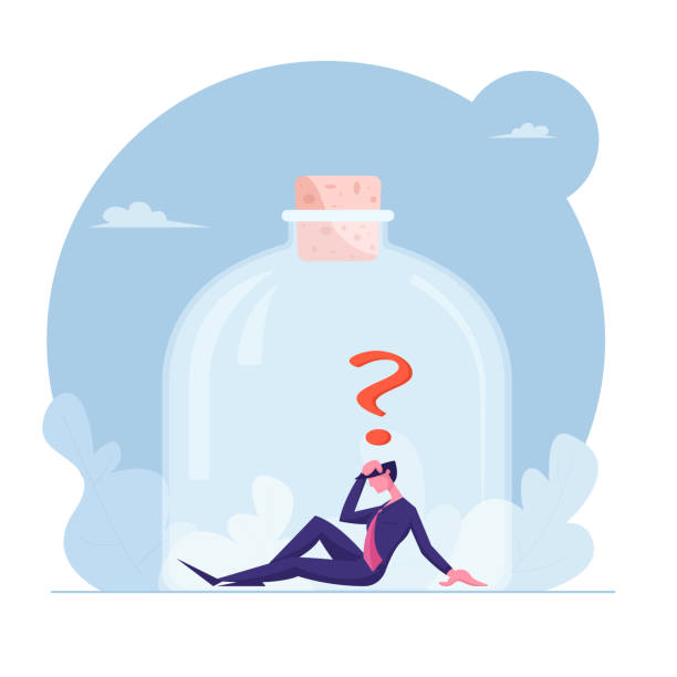 Stressed Depressed Businessman Trapped Inside Jar Closed with Cork Sit on Bottom with Question Mark above Head. Frustration, Work Problem, Hopeless Situation Concept Cartoon Flat Vector Illustration Stressed Depressed Businessman Trapped Inside Jar Closed with Cork Sit on Bottom with Question Mark above Head. Frustration, Work Problem, Hopeless Situation Concept Cartoon Flat Vector Illustration human head stock illustrations