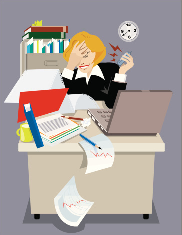 Stressed executive woman in his office.