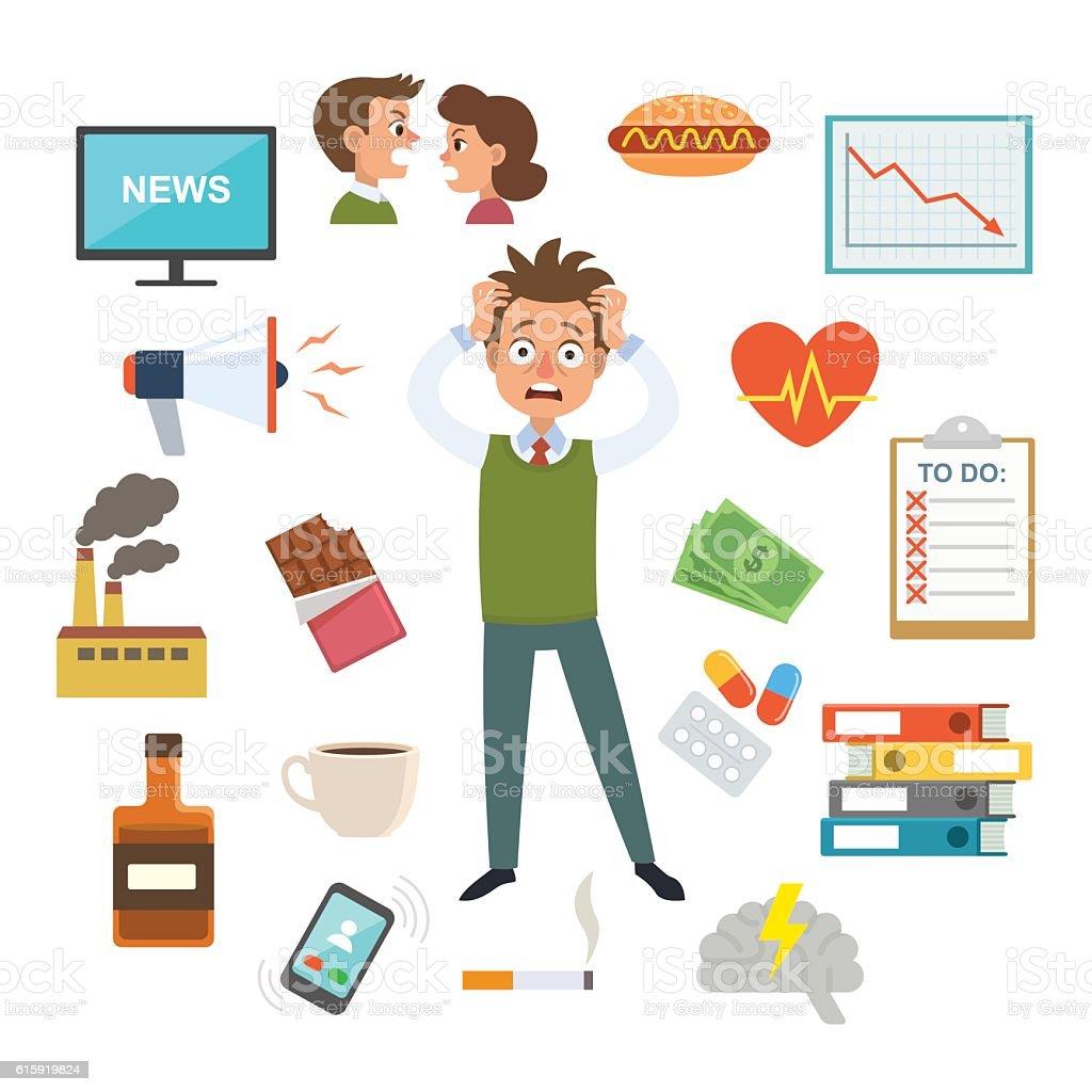 Stressed man vector art illustration