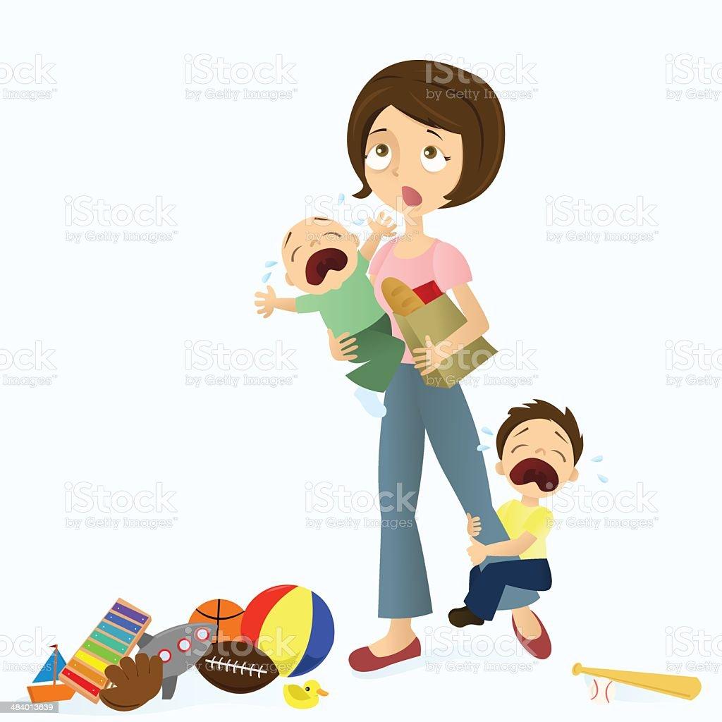 Stressed Mom vector art illustration