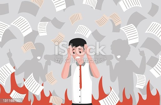 istock Stressed office worker on deadline and silhouettes of people shouting through megaphone vector flat illustration. 1311697501