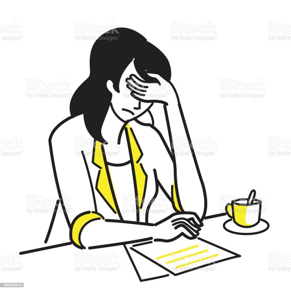 Stressed office worker vector art illustration