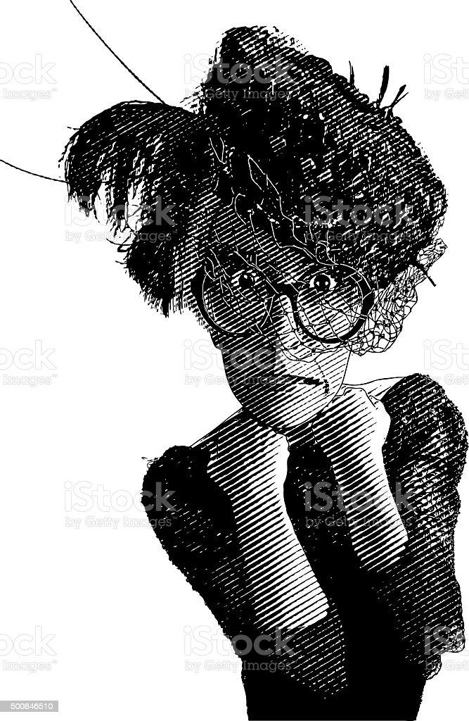 Stressed Out Granny with Funny Expression, Isolated On White vector art illustration