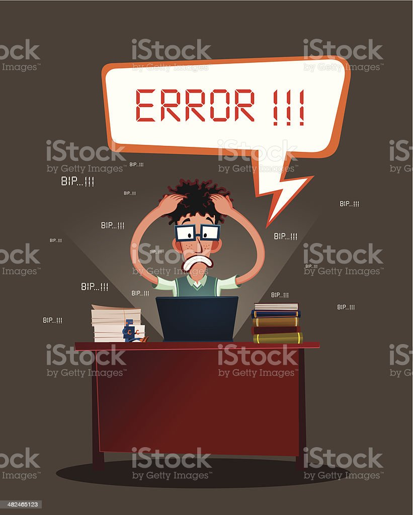 stressed programmer vector art illustration