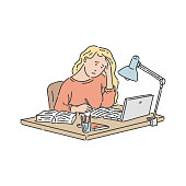Stressed student girl sitting at table with laptop and notebook and studying in hand drawn style - isolated vector illustration of pupil learning hard homework and holding head in arms.