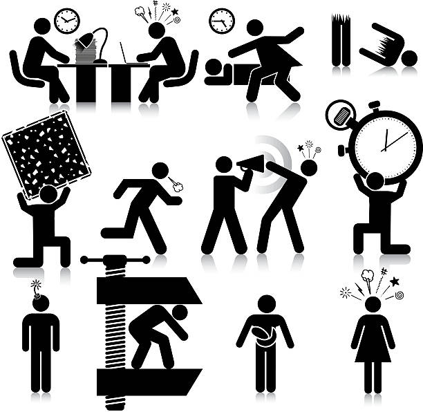 Stressed Vectored stressed people. This format can be blown up to any size without loss of quality. aggression stock illustrations
