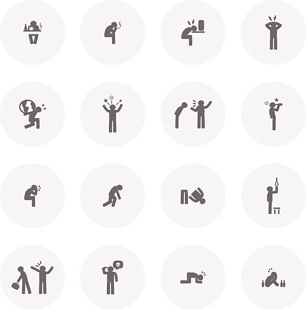 Stressed Vector File of Stressed Icon Set frustration stock illustrations