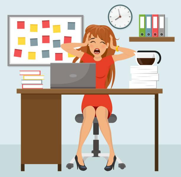 gestresste frau am arbeitsbüro flaches design - chefin stock-grafiken, -clipart, -cartoons und -symbole