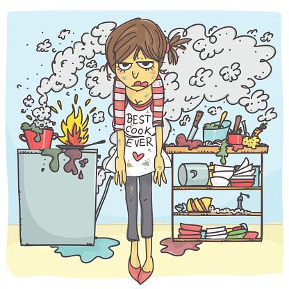 Stressed Woman In Messy Kitchen - Arte vetorial de stock e mais imagens de Acidente - Conceito