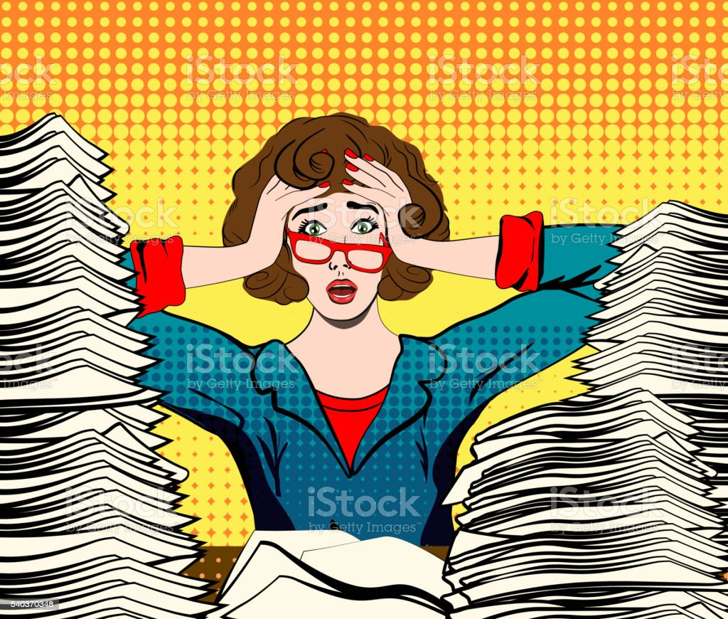 Stressed woman in panic. Paperwork. vector art illustration