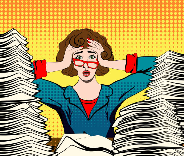 Stressed woman in panic. Paperwork. stressed woman. stressed worker. businesswoman in panic. a young girl sits at his Desk and holds her hands on her head. pop art vector illustration. Paper Work. Stressed person concept overworked stock illustrations